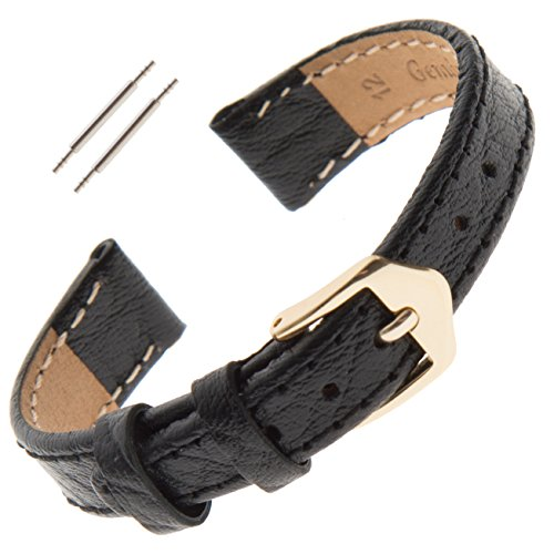 (Gilden 10-13mm Ladies Flat Stitched Buffalo-Grain Calfskin Watch Strap FS52 (10 Millimeter end Width, Black))