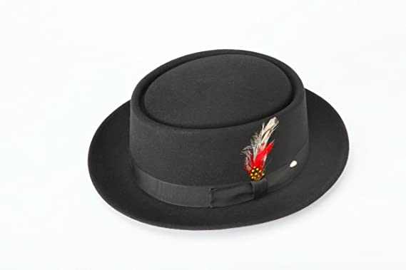 8cd3c05fbc7578 Amazon.com: New Mens 100% Wool Black Porkpie (Pork Pie) Hat: Clothing