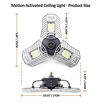 CREATE BRIGHT 60W Motion Activated Ceiling Light for Garage, Warehouse,Workshop,Basement and Others, High Power LED Light Bulb E26 Medium Base 6000 Lumen,6000K Daylight