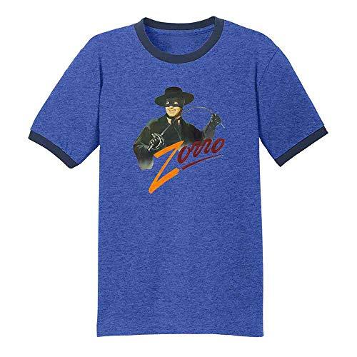 Zorro Tyrone Power Retro Halloween Costume Royal/Navy S Ringer T-Shirt]()