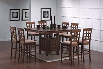 9pcs walnut counter height dining table with lazy susan 8 stools set - Kitchen Table Counter