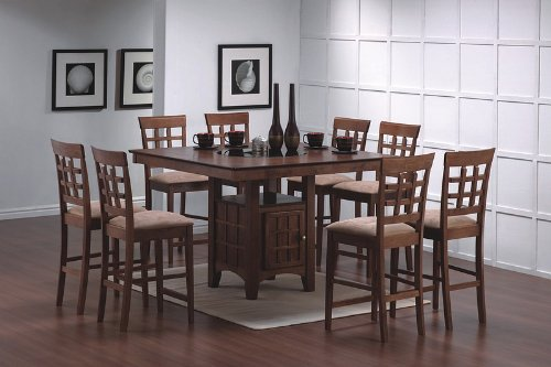 Amazon.com: 9pcs Walnut Counter Height Dining Table With Lazy Susan U0026 8  Stools Set: Kitchen U0026 Dining