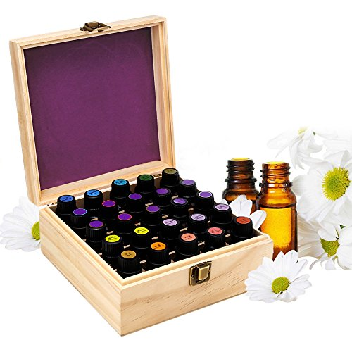 EleLight Wooden Essential Oil Case, Storage Case Holds 25 Bottles Essential Oil Storage/Organizer Box for 5ml 10ml 15ml Bottles