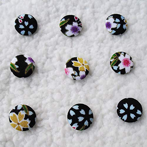 (Maslin Fabric Cover Buttons Made by Hand DIY Series Cloth Covered Buttons Component with Shank 20mm 2cm 50pcs/lot E40)