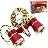 HQRP Theater Binoculars w/ Crystal Clear Optic (CCO) with Red Reading Light / Burgundy & Gold Trim w/ Necklace Chain