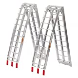 Set of 2 Aluminum Motorcycle Loading Ramp, 7.5 ft Folding Ramps Pair Bestmassage