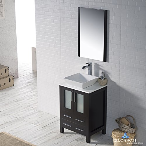 BLOSSOM 001-24-02-1616V Sydney 24'' Vanity Set with Vessel Sink and Mirror Espresso