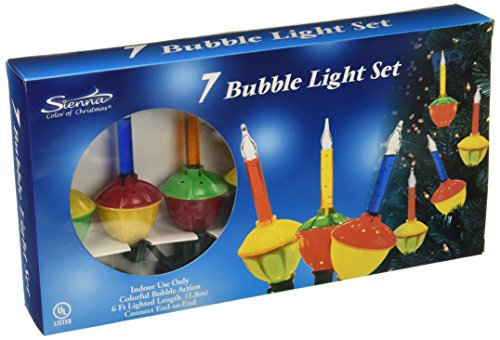 Celebrations Lighting G11GR2A1 Set of 7 Multi-color Christmas Bubble Lights with Green (Bubble Light Candelabra)