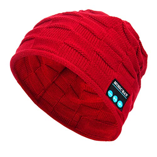 PASATO New Winter Unisex Bluetooth Wireless Smart Beanie Keep Warm Windproof Hat Handsfree Music Speaker (Red,Free Size) ()