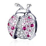 Forever Queen Ladybird Charm 925 Sterling Silver Ladybug Animal Charms Beads Fit for Bracelets with 5A Cubic Zirconia Birthday Gifts for Women