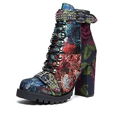 Jeffrey Campbell Lilith', blue, orange, purple, brocade patchwork combat boot, 9.5