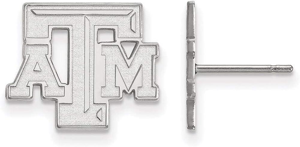 Lex /& Lu LogoArt 10k White Gold Texas A/&M University Small Post Earrings LAL129665