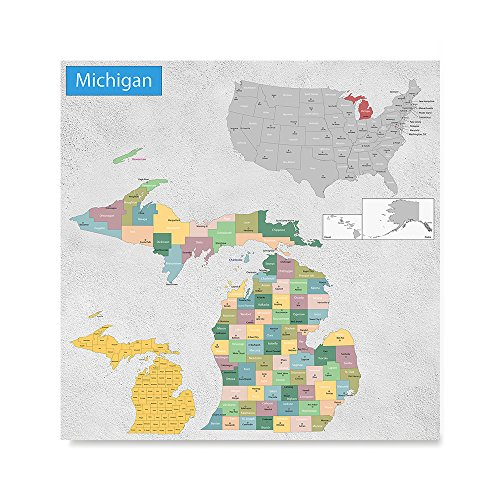 - EzPosterPrints USA State Map Posters - Poster Printing - Wall Art Print for Home Office Decor - MICHIGAN - 32X32 inches