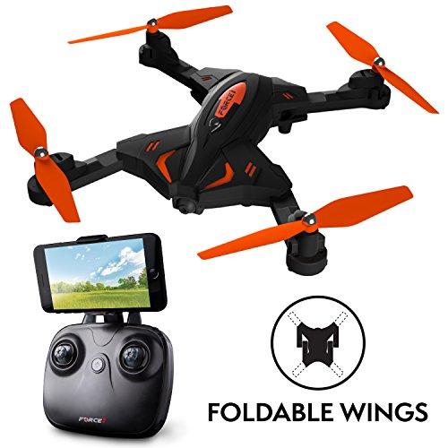 "Force1 Foldable Drone with Camera Live Video - ""F111 Phoenix"" WiFi FPV Drone with Camera Live Video for HD 720p Drones with Camera and Foldable Drone Arms"
