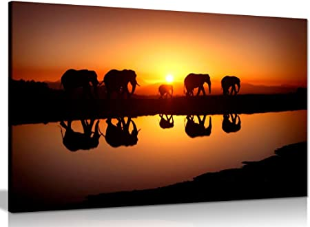 African Sunset Elephants Nature Wildlife Canvas Wall Art Picture Print 30x20in Everything Else