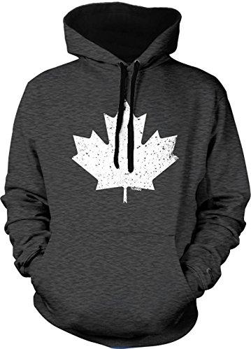 Tcombo Canada Canadian Maple Leaf Men's 2 Tone Hoodie Sweatshirt (XS, Charcoal/Black String)