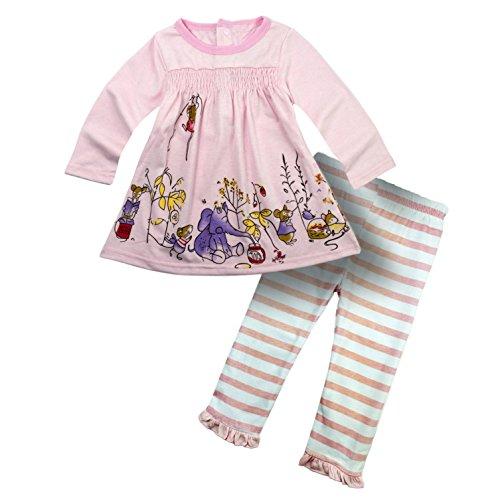 BIG ELEPHANT Baby Girls Infant Toddler Dress Pants Clothing Set G12