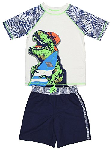 OP Ocean Pacific Boy's Dinosaur Surfboard Rashguard Swim Set (Medium 8) (Dinosaur Swim Trunks)