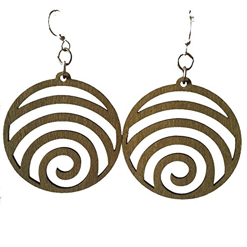 Wave laser-cut wood earrings sustainable eco-jewelry CHOOSE COLOR #1054 (Apple Green)