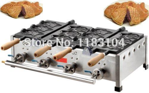LPG Gas 6pcs Fish Waffle Japanese Taiyaki Maker Machine Baker Iron Mold by ANGELGARDEN