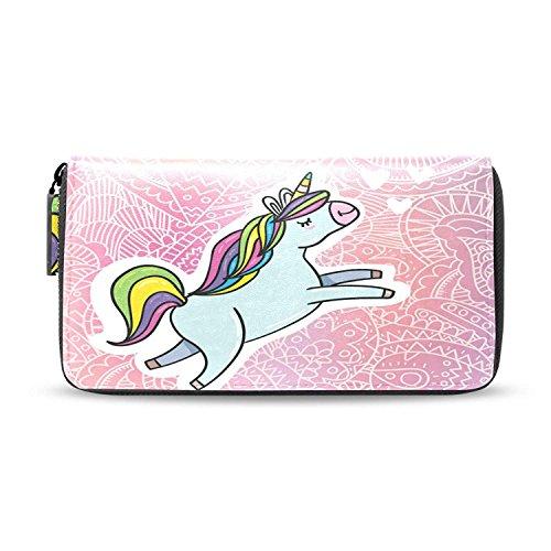 Explorer Zip Clutch - Long Rainbow Unicorn Leather Clutch Purses Zip Around Passport Wallet Handbag