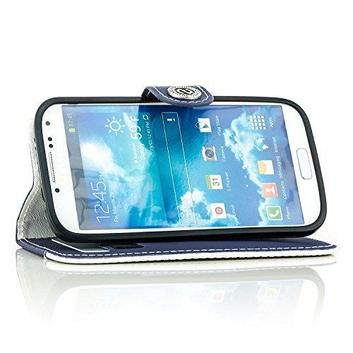 Saxonia Funda Samsung Galaxy S7 Edge Cubierta Carcasa Protectora Elegante con [Ranuras para Tarjetas] Billetera   violeta-Bianco Azul oscoro-Blanco