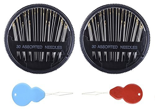 Assorted Hand Sewing Needles - 30 Count each - (2 Pcs Pack) and Bonus Two Needle Threader. Stainless Steel Needles for hemming, embroidery, alteration, mending, crafts, quilting, Stitching etc by Cashmina House