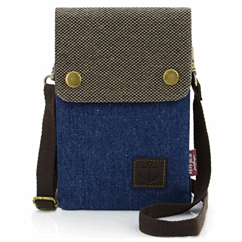 TIMES Phone Small Blue Purse Shoulder inch Cell Model 1 Dark With U Crossbody Strap Bag 6 Women's Canvas BpEzBnqd
