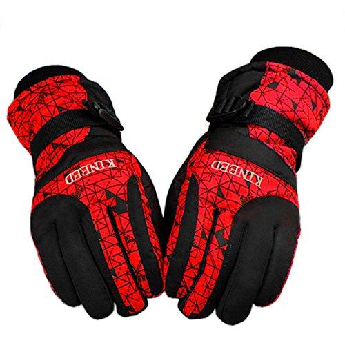 GVDV Waterproof Men Women Winter Ski Skiing Snow Warm Gloves (Red) (Skiing Mitts Men)