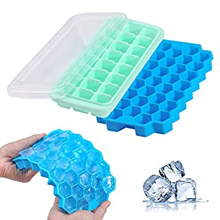 Ice Cube Trays BPA Free, 2 Pack Silicone Ice Tray 61-Ice Trays with Lid, Food Grade Silicone molds for Candy, Chocolate, Ice Trays for Whiskey, Cocktail Easy Release