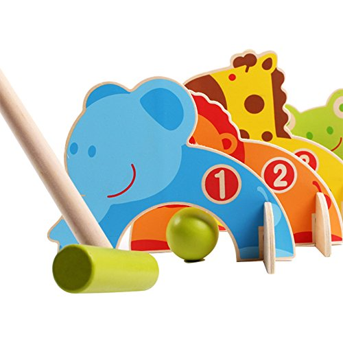 Toyssa Wooden Cartoon Animals Croquet Set Educational Toys Outdoor Games for Kids
