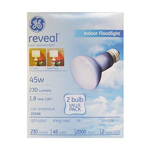 GE Lighting 45-Watt R20 Reveal Floodlight Light Bulb, E26 Medium Screw Base, 230 Lumens (R20-2 Pack) -