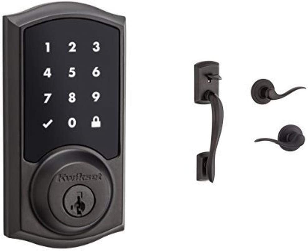 Kwikset 915 SmartCode Touchscreen Electronic Deadbolt featuring SmartKey Security and Avalon Handleset with Tustin Right Handed and Left Handed Lever in Venetian Bronze