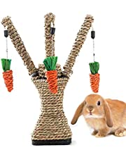 Hamiledyi Pet Rabbit Toy Tree Bunny Fun Chew Toy Rattan Grass Scratcher Climbing Tree Play Carrot Toy for Small Animal