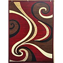 Modern Contemporary Area Rug Red Swirl Americana Design 144 ( 4 Feet X 5 Feet 3 Inch )
