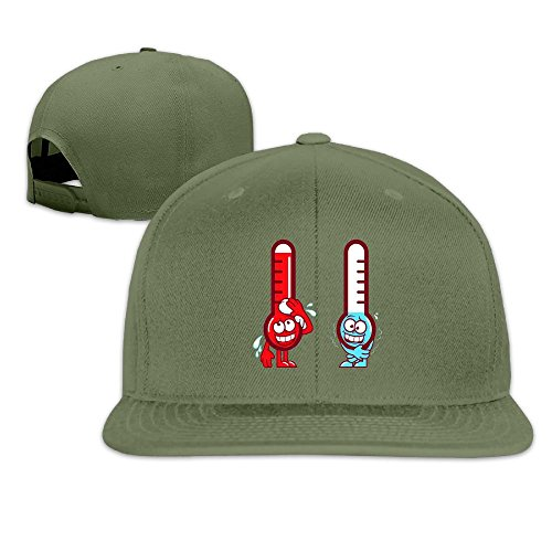 Odr KOPWIEA Mens Two Thermometers Funny Jogging ForestGreen Hat Adjustable (Coleman Gas Generators)