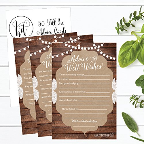 50 4x6 Rustic Wedding Advice & Well Wishes For The Bride and Groom Cards, Reception Wishing Guest Book Alternative, Bridal Shower Games Note Card Marriage Advice Bride To Be, Best Wishes For Mr & Mrs Photo #2