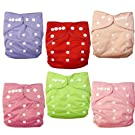 Alva Baby 6pcs Pack Fitted Pocket Washable Adjustable Cloth Diaper with 2 Inserts Each (Girl Color) 6BM88