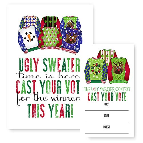 Ugly Sweater Christmas Party Supplies Game Cards (25 Voting Cards + 1 Sign Per Set)