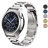 DeLeLe Samsung Gear S3 Frontier/Classic Watch Band, Solid Stainless Steel Metal Business Replacement Bracelet Strap for Samsung Gear S3 Frontier/Gear S3 Classic Smart Watch (Silver)