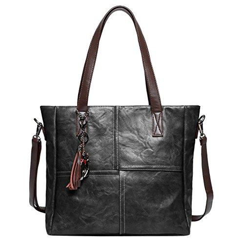 Zahara Women Girls Large Tote Bags Big Designer Ladies Hobo Handbags PU Leather Shoulder Satchel Messenger Purse Black