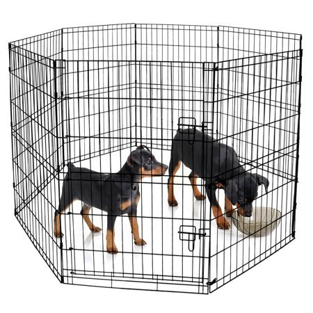 "Blue Beagle Dog Animal Playpen Large Metal Wire Folding Exercise Yard Fence 8 Panel Popup Kennel Crate Fence Tent Portable - Black - Premium Quality 24""W x 36""H"
