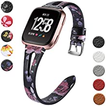 Wepro Leather Bands Compatible with Fitbit Versa/Versa 2/Versa Lite SE Watch for Women Men, Small, Slim Genuine Leather Wristbands Bracelet Fitness Straps, Pink Roses
