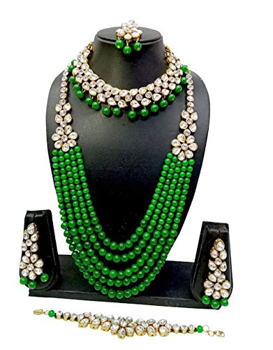 (CROWN JEWEL Indian Bridal Pearl 5 pc Combo Jewelry Wedding Gold Necklace Earring Set (Green))