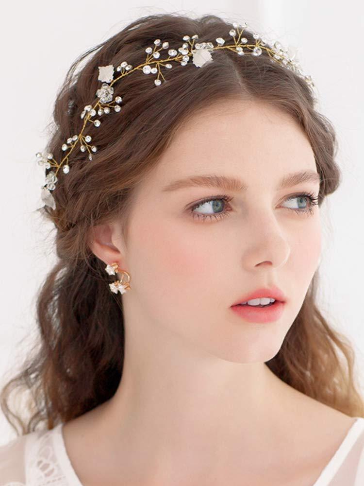 Amazon God Bridal Headband Crystal Hair Vine Flower Halo Hair
