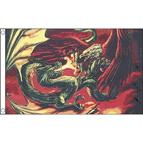 AZ FLAG Dragon VS Eagle Flag 3' x 5' - Dragon Versus Eagle Flags 90 x 150 cm - Banner 3x5 - Eagle Banner Flag