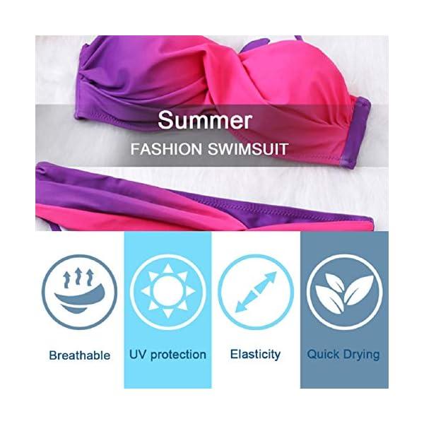 Tuopuda Costume da Bagno Due Pezzi Donna Tie Dye Set Bikini Push-Up Sexy Beachwear Swimsuit