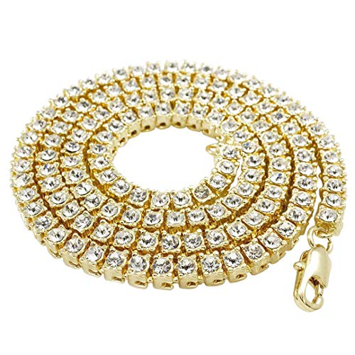 Iced Out Gold Chains - NIV'S BLING - 14K Gold Plated Tennis Necklace - Iced Out 1 Row Chain, 20 Inches