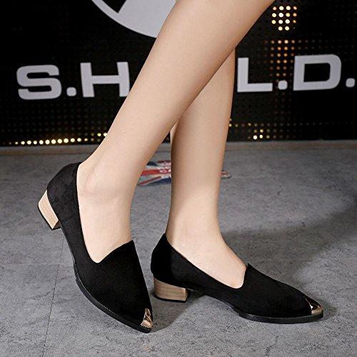 Show Low Shine Pointed Heel Casual Womens Shoes Black Toe Chunky qqYBr