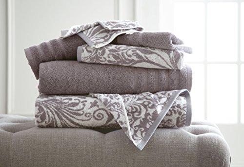 Amrapur Overseas | Jacquard 6-Piece 100% Combed Cotton Yarn Dyed Filigree Swirl Towel Set (Ash -
